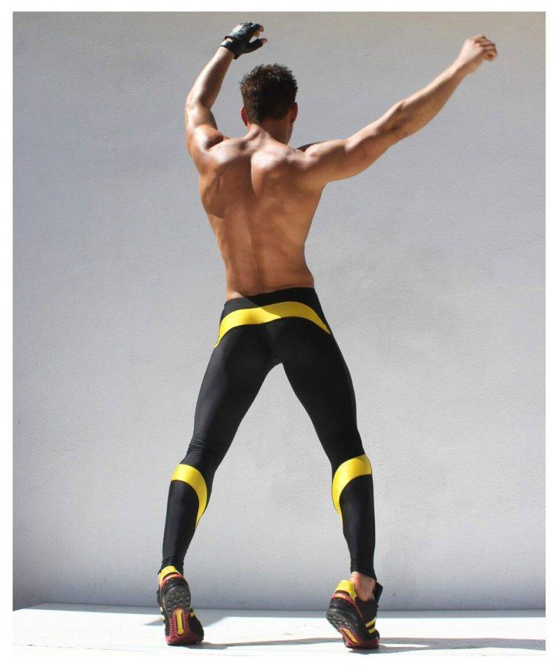 Skinny Sports Gym Leggings for Men Mens Clothing Leggings
