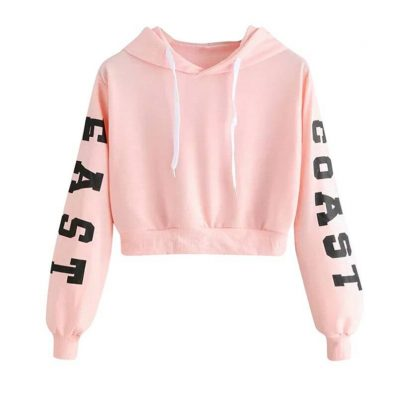 Long Sleeve Short Hoodie Top for Women Womens Clothing Hoodies