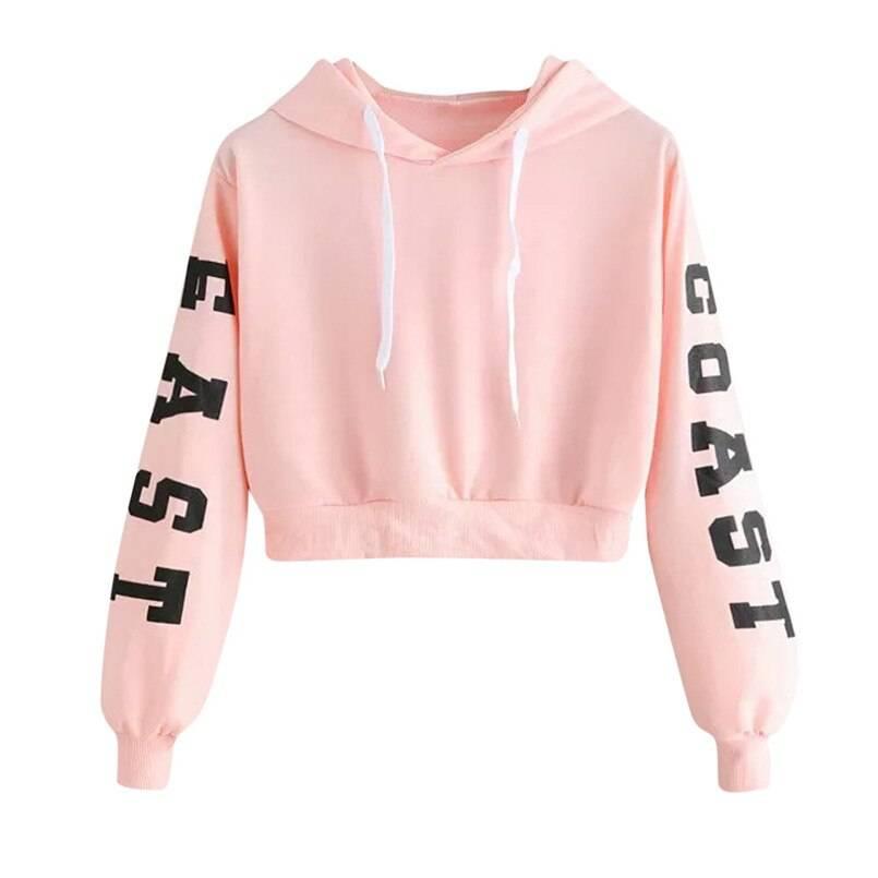 Long Sleeve Short Hoodie Top for Women Womens Clothing Jackets & Hoodies