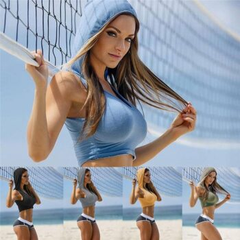 Fitness Hooded Sports Bra for Women Womens Clothing Jackets & Hoodies