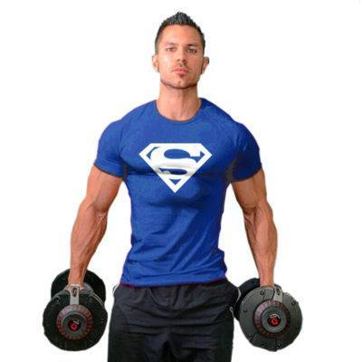 Superhero Bodybuilding T-shirt for Men Mens Clothing Tops