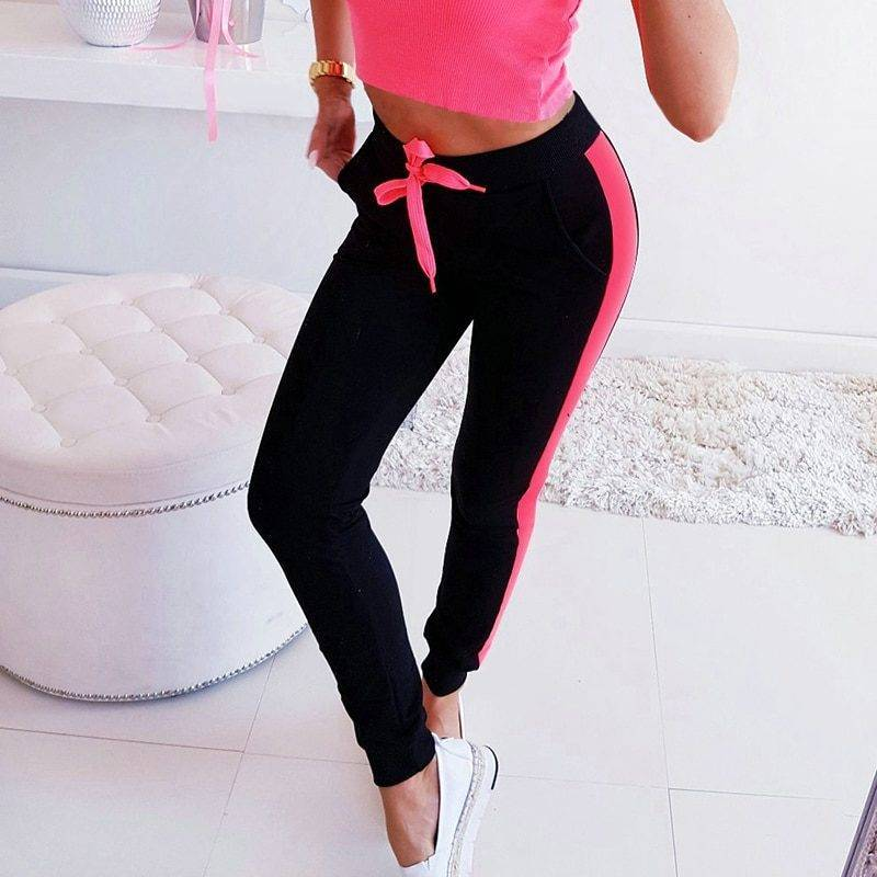 Striped High Waist Fitness Pants for Women Womens Clothing Pants