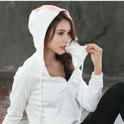 Sports Hooded Jacket with Zipper for Women Womens Clothing Hoodies